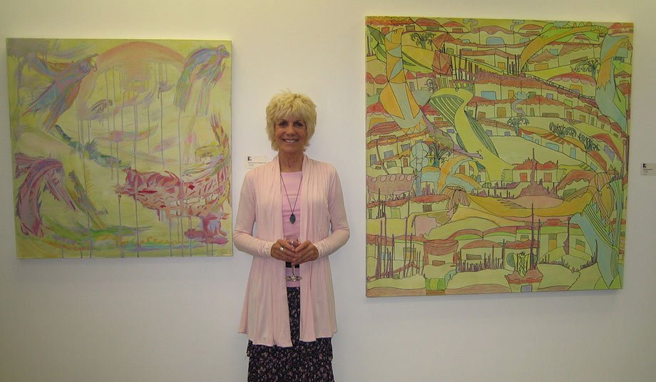 Jill Glenn with paintings