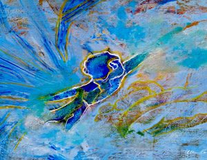 Painting: Flying Upwards into the Blue Sky